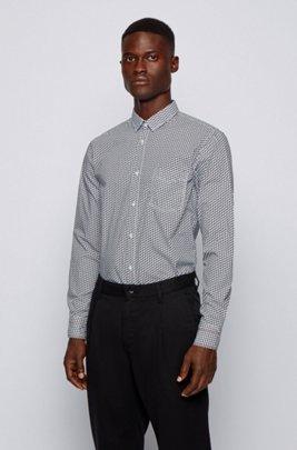 Dezent gemustertes Slim-Fit Hemd aus Baumwoll-Canvas, Weiß