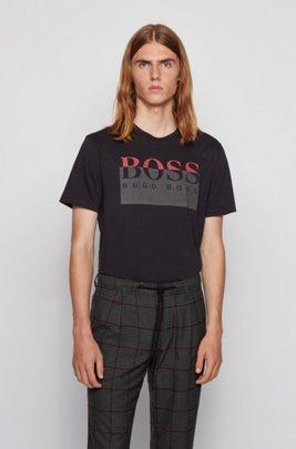 ピマコットン Tシャツ 新シーズンのロゴプリント, ブラック
