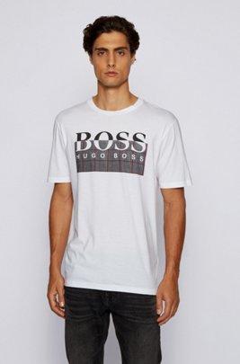 T-Shirt aus Pima-Baumwolle mit Logo-Print der neuen Saison, Weiß