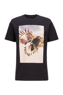 レギュラーフィットTシャツ PVCフリー写真プリント, ブラック