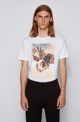 レギュラーフィットTシャツ PVCフリー写真プリント, ホワイト