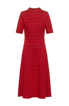 Checked jersey dress with short sleeves, light pink