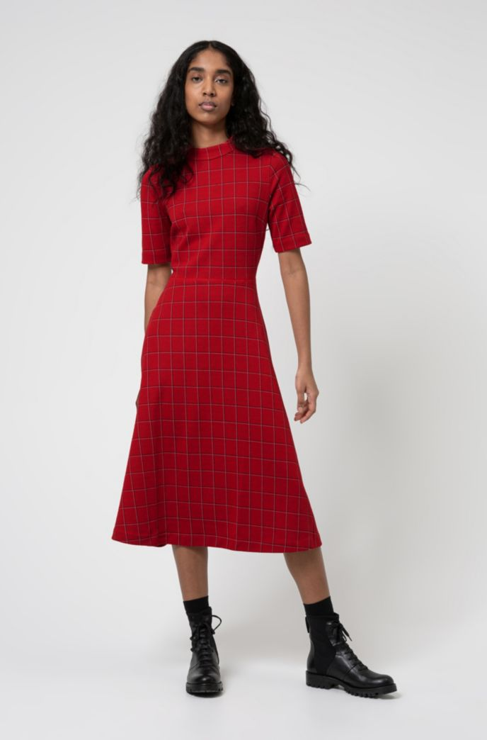 Checked jersey dress with short sleeves