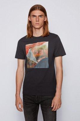 コットンジャージーTシャツ PVCフリーグラフィック, ブラック