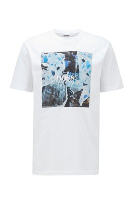 コットンジャージーTシャツ PVCフリーグラフィック, ホワイト