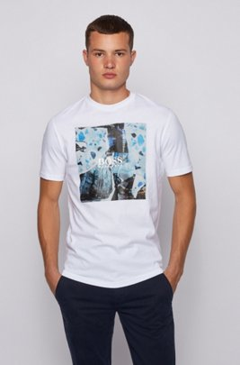 Cotton-jersey T-shirt with PVC-free graphic print, White
