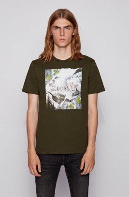 コットンジャージーTシャツ PVCフリーグラフィック, ライトグリーン