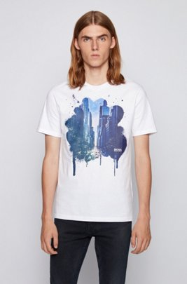 Regular-fit mono-material T-shirt with cityscape print, White