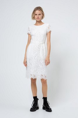 Scoop-neck dress in lace with organic cotton, White
