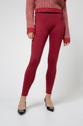 Slim-fit trousers in super-stretch jersey, Light Red