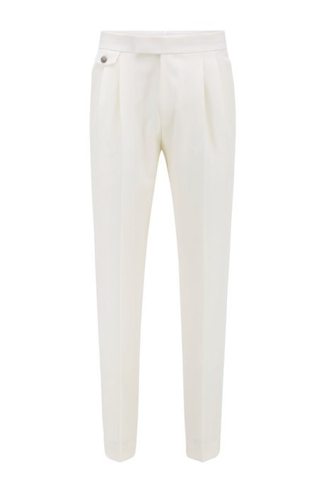 Relaxed-fit trousers in virgin wool with silk trims, White