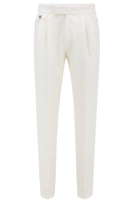 Relaxed-Fit Hose aus Schurwolle mit Seiden-Details, Weiß