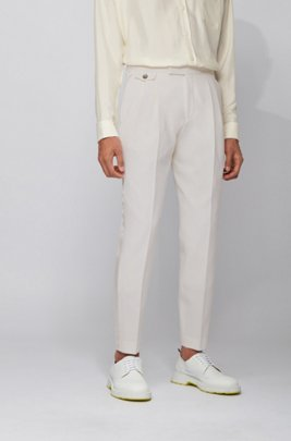 Relaxed-fit trousers in virgin wool with silk trims, ホワイト