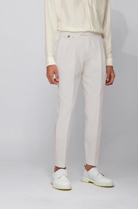 Relaxed-fit broek van scheerwol met zijden details, Wit