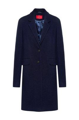 Textured wool-blend coat with flap pockets, Dark Blue