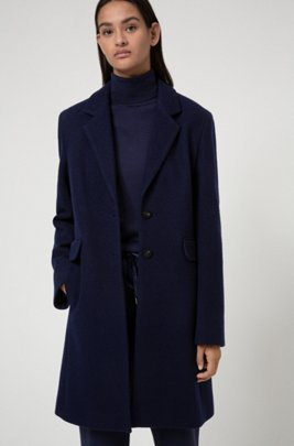 Textured wool-blend coat with flap pockets, Dark Blue