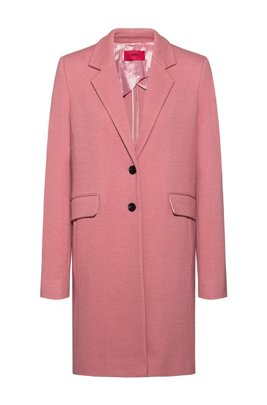 Textured wool-blend coat with flap pockets, Dark pink