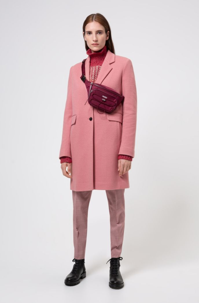 Regular-Fit Mantel aus strukturiertem Woll-Mix mit Pattentaschen