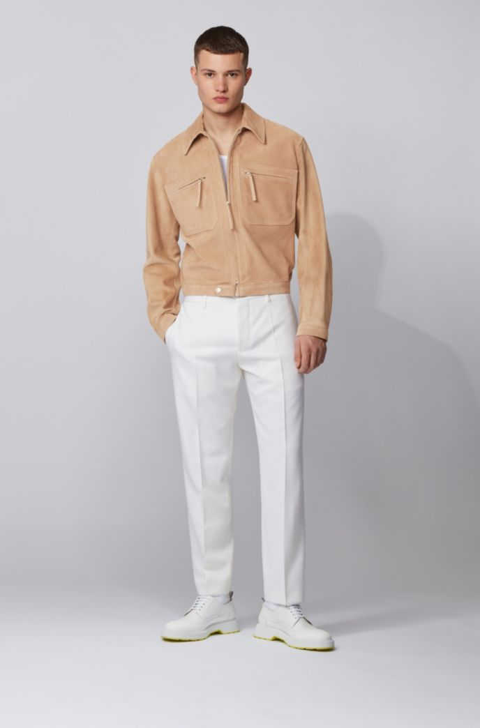 Slim-fit blouson jacket in cashmere-touch suede