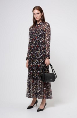 Tiered shirt dress in silk chiffon with collection print, Patterned