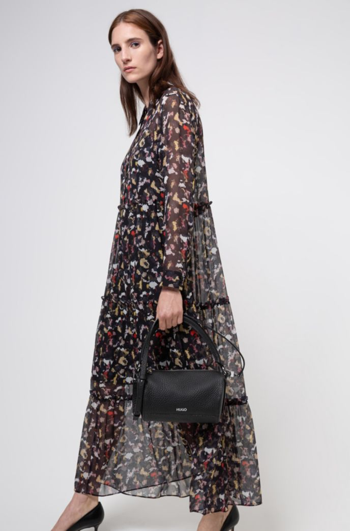 Tiered shirt dress in silk chiffon with collection print