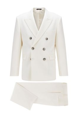 Costume croisé Relaxed Fit en laine vierge structurée, Blanc