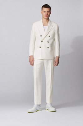 Double-breasted relaxed-fit suit in structured virgin wool, ホワイト