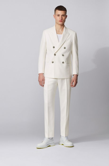 Double-breasted relaxed-fit suit in structured virgin wool, White