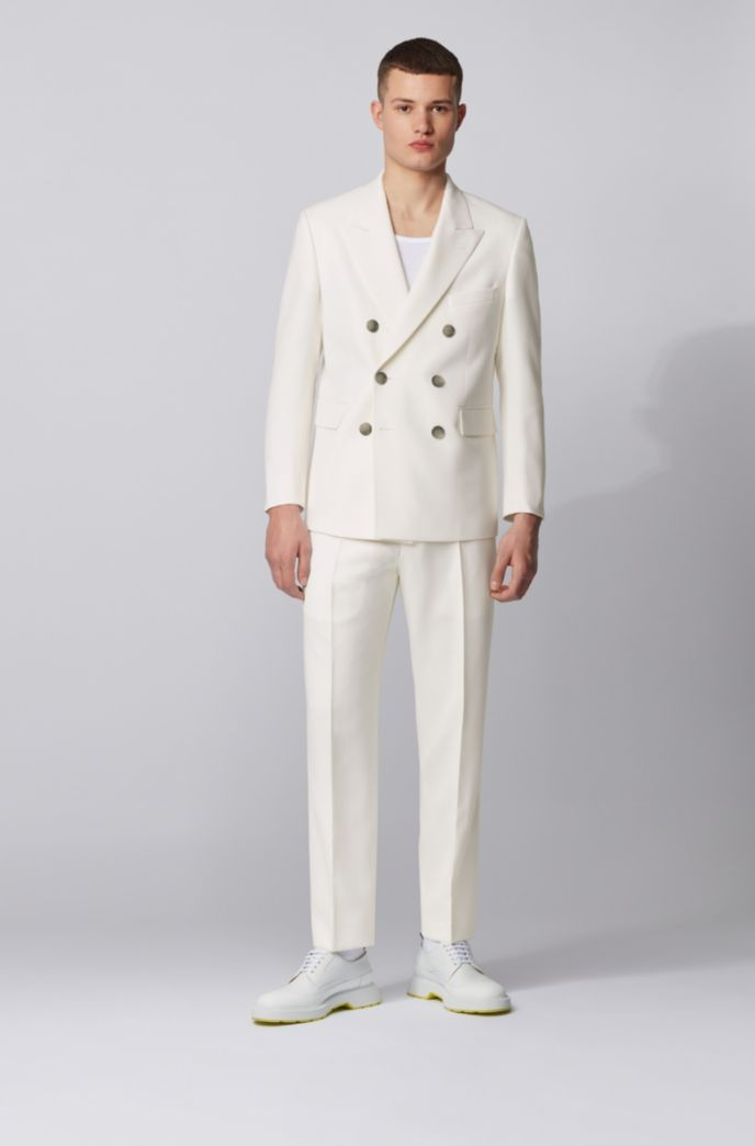 Double-breasted relaxed-fit suit in structured virgin wool