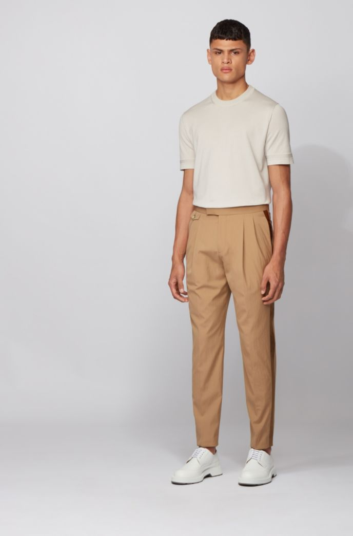 Regular-fit trousers in stretch fabric with silk facings