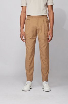 Pantaloni regular fit in tessuto elasticizzato con inserti in seta, Marrone chiaro