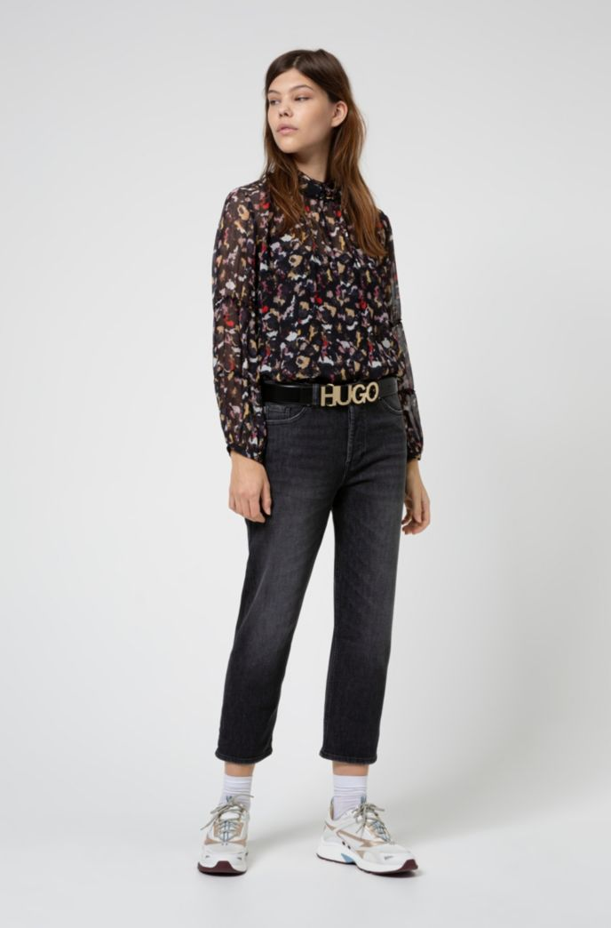 Relaxed-fit jeans in black stretch denim