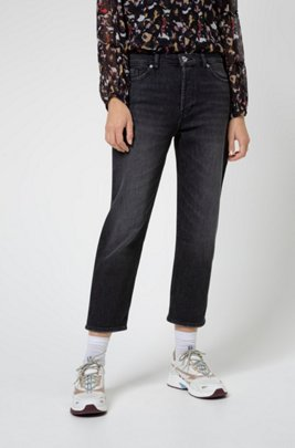 Relaxed-fit jeans in black stretch denim, Grey