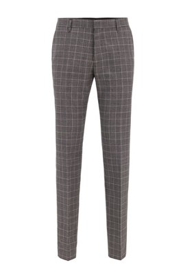 Slim-fit trousers in checked virgin wool, Black