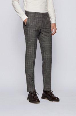 Slim-fit trousers in checked virgin wool, Black