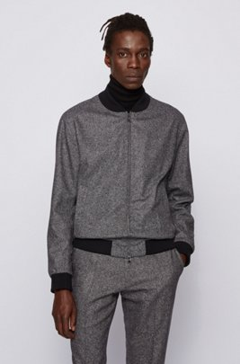 Slim-fit bomber jacket in a melange wool blend, Grey