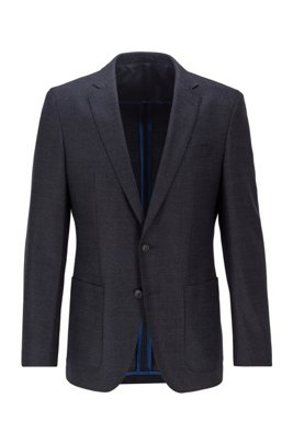Giacca slim fit in misto lana mélange, Blu scuro