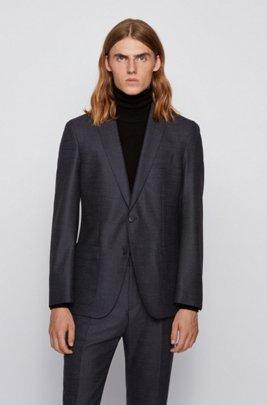 Slim-fit jacket in a melange wool blend, Dark Blue