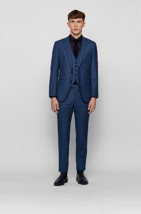 Three-piece slim-fit suit in virgin wool, Dark Blue