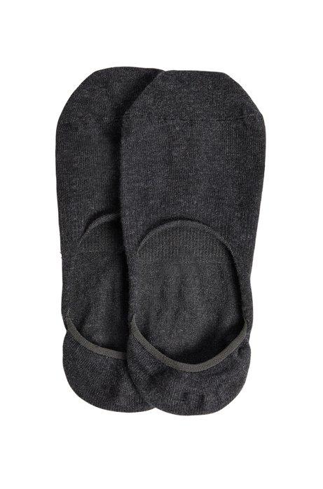 Twee paar onzichtbare sokken afgewerkt met siliconen details, Donkergrijs