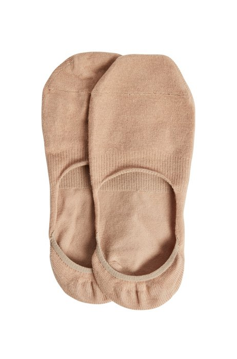 Two-pack of invisible socks with silicone grip, Beige