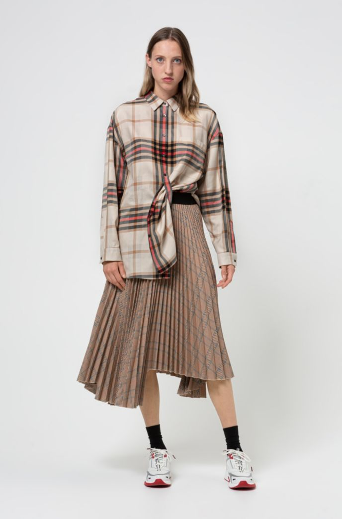 Plissé A-line skirt with all-over checked pattern