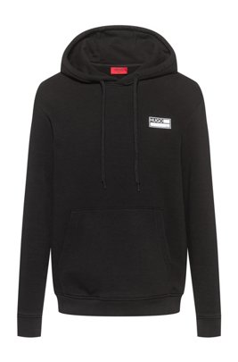 Cotton-blend fleece hoodie with manifesto graphics, Black