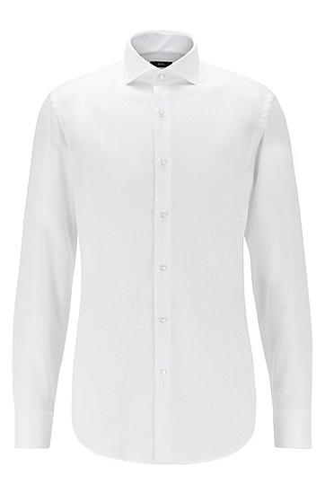 微结构易熨烫棉质修身衬衫,  100_白色