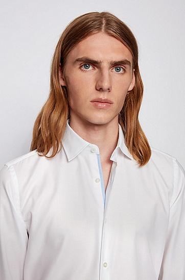 微结构棉质易熨烫修身衬衫,  100_白色