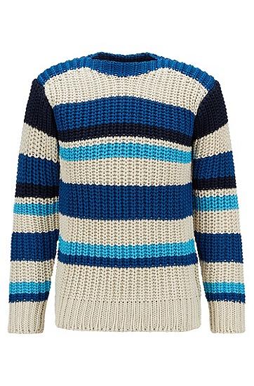 意大利丝光棉条纹毛衣,  410_海军蓝色