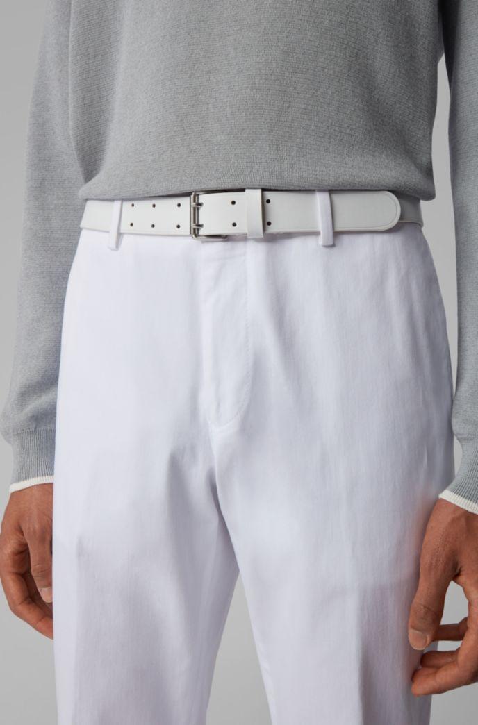 Cinturón de la colección de pasarela de piel italiana con hebilla redondeada