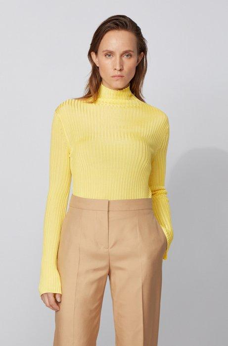 Pullover mit doppelter Ripp-Struktur, Gelb