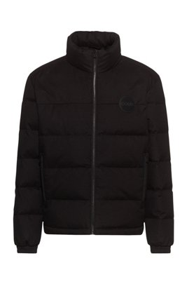 Baffle-quilted jacket with reversed-logo badge, Black