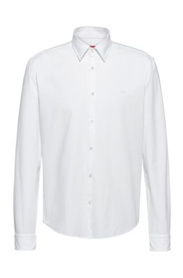 Chemise Slim Fit en coton Oxford lavé en pièce, Blanc